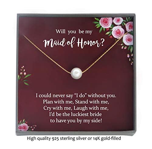 Dinner Knot (Maid of Honor Proposal Gift Necklace with Meaningful Message, Floating Pearl)