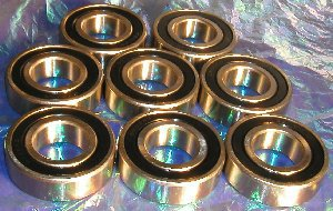 6205-2RS Ball Bearings, 25x52x15 mm, Sealed (Set of 8)
