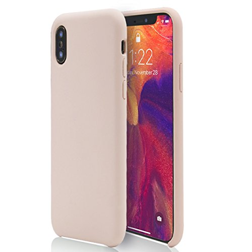 Liquid Mojo (Pink Phone X/10 Case MOJOKASE Anti-Shock Slim Matte Silky Touch Liquid Silicone Microfiber Lining, Wireless Charging Compatible Cover for Apple iPhone X (2017) RETAIL PACKAGING (Mojo Pink))