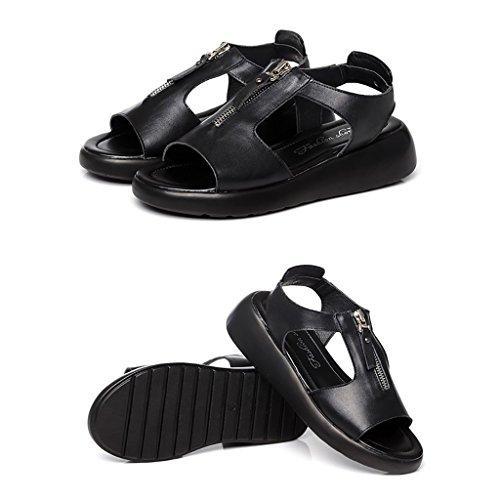 PENGFEI Chanclas de playa para mujer Zapatillas de verano Sandalias de compras Mujer Mujeres embarazadas Ocio Sandalias planas antideslizantes Negro, gris, rojo y blanco Cómodo y transpirable ( Color  Negro