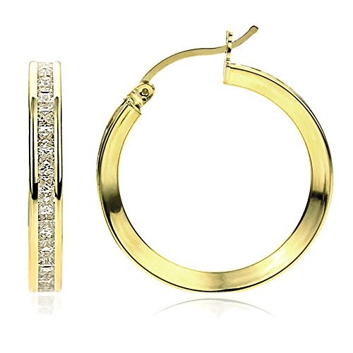 14K Gold 2mm Intriguing Princess CZ Stone Channel Set Eternity Round Hoop Earrings, Size 12mm~40mm, - Gold Earrings Eternity