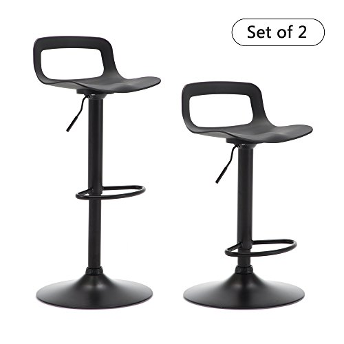 THKSBOUGHT Set of 2 Modern Bar Stools Plastic Adjustable Counter Height Swivel Stool Matte Back