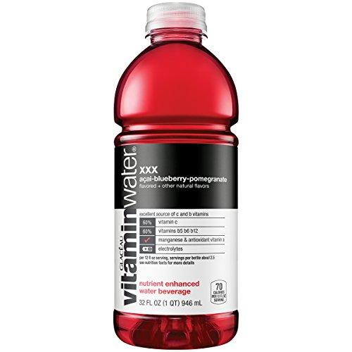 vitaminwater xxx, electrolyte enhanced water w/ vitamins, açai-blueberry-pomegranate drink, 32 fl oz