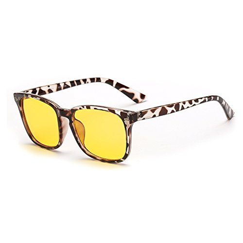 Cyxus Blue Light Filter [Anti Eye Strain] UV Block Safety Computer Glasses Sleep Better Vintage Classic Square Yellow 49mm Lens, Unisex(Mens/Womens) Reading Eyewear (Leopard Print - Restore Glasses Frames