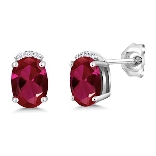 Gem Stone King 2.06 Ct Oval Red Created Ruby G/H Lab Grown Diamond 925 Sterling Silver Earrings