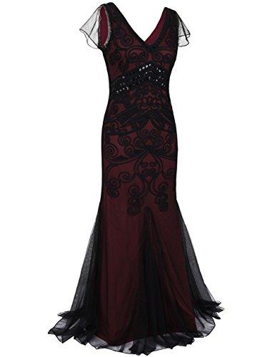 Formel avec Manche Flapper Gown Femmes Longue Robe 1920 Kayamiya Bourgogne Soire De Annes Sirne qFxYav7