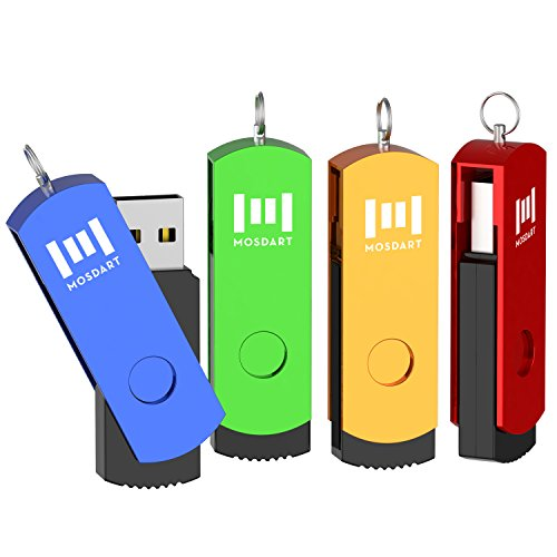 4X MOSDART 16GB TwistTurn USB2.0 Flash Drive Keychain Design Thumb Drive Pen Drive Jump Drive,Green/Blue/Orange/Red