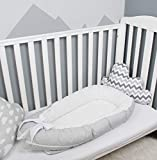 Baby nest bed or toddler size nest, grey/white dots, portable crib, co sleeper babynest for newborn and toddlers
