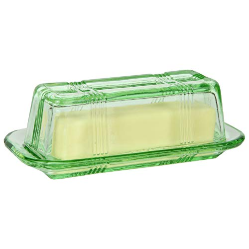 Glass Butter Dish - Trenton Gifts Green Depression-Style Glass Butter Dish, Retro Kitchen Decor, Wedding Gift