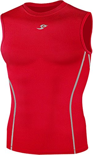 New 043 Red Skin Tights Compression Base Layer Sleeveless Mens Top (S)