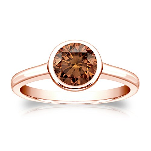 Diamond Wish 14k Rose Gold Round Solitaire Brown Diamond Ring 1 2 carat TW, SI1-SI2 , Bezel Set, Size 4-9