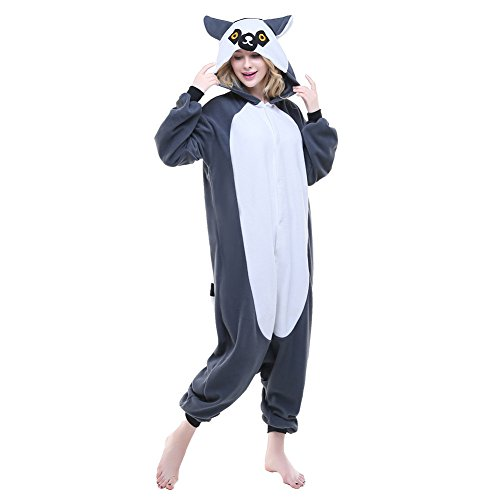 Mouse Lemur Costume (NEWCOSPLAY Halloween Neutral Adult Cartoon Costume Animal Cosplay Costume Listing 1 (XL, Gray Ring-tailed Lemur))