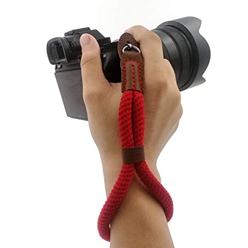 Comfortable Cotton Camera Hand Wrist Strap Rope Compatible for Sony Fujifilm ILCE Nikon DSLR Mirrorless Cameras Safety Tether (Red)