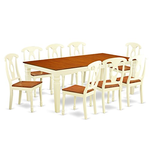 East West Furniture LGKE9-BMK-W 9 PC Kitchen Dinette Set with One Logan Dining Table & 8 Kitchen Chairs in Buttermilk & Cherry Finish