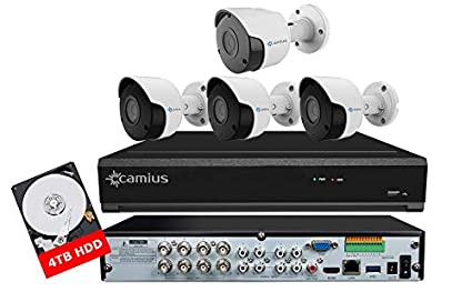 Camius 4K 8 Channel DVR Home Security Camera System with Hard Drive 4TB,4  Surveillance Outdoor Security Cameras (3x5MP, 1x4K), Mobile Camera App, PC,