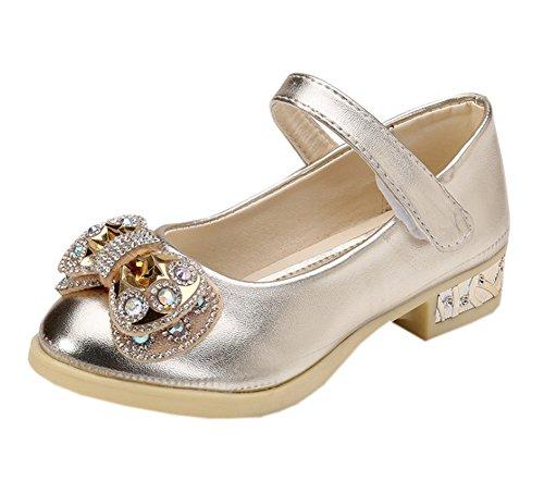 Vokamara Mädchen Bejeweled Mary Jane Party Schuhe Prinzessin Schuhe Gold