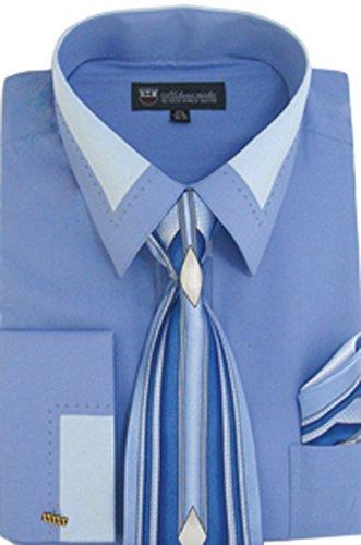 (Milano Moda High Fashion Dress Shirt with Contrast Design Tie, Hankie & Cuffs Blue-16-16 1/2-34-35)