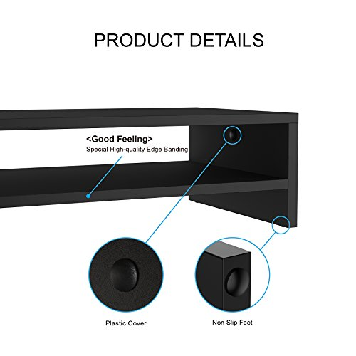 FITUEYES Computer Monitor Stand TV Shelf Risers 16.7 inch 2 Tiers Monitor Stand Save Space Black by FITUEYES (Image #4)