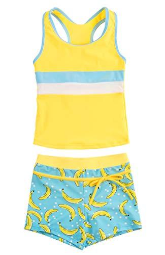 - KABETY Little Girls Summer Two Piece Boyshort Fashion Tankini Swimsuit (Banana, 3-4=M)