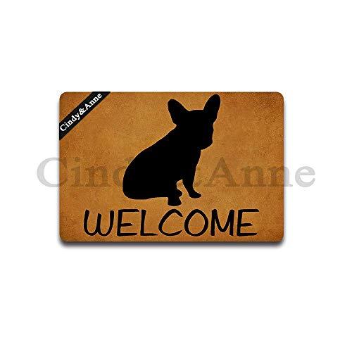Cindy&Anne Frenchie Bull Dog Welcome Doormat Entrance Floor Mat Door Mat Decorative Indoor Outdoor Doormat 23.6