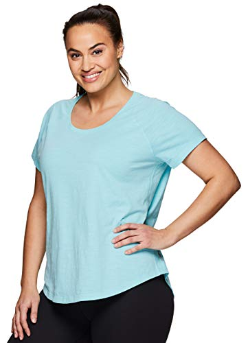 RBX Active Women's Plus Size Hi-Low Workout Yoga Short Sleeve Tee S.19 Blue 2X