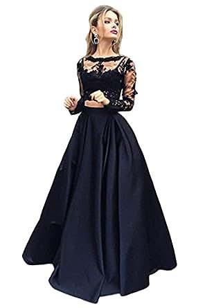 Mathena Women's Lace Appliques Long Sleeve Crewneck 2 Piece Formal Prom Dress Customize Size Black