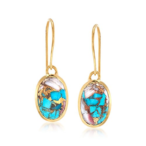 Ross-Simons Oval Kingman Turquoise Drop Earrings in 18kt Gold Over Sterling