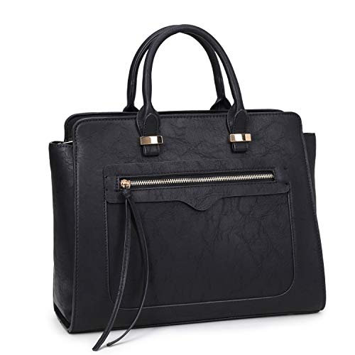Dasein Women Medium Structured Patent Faux Leather Satchel with Zipper Front Pocket