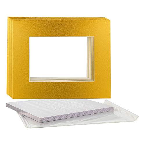 U.S. Art Supply 11X14 Imitation Gold Leaf Photo Mat Board Set - Mats, Backboard & Clear Bags - 10 Sets ()