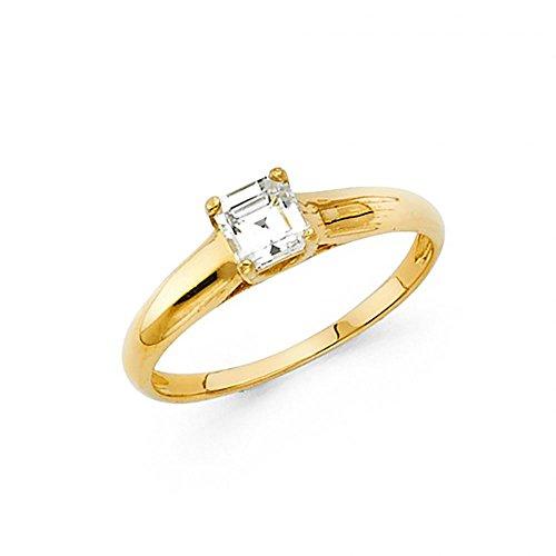American Set Co. 14k Yellow Gold Princess Cut CZ Trellis Solitaire Engagement Ring ()