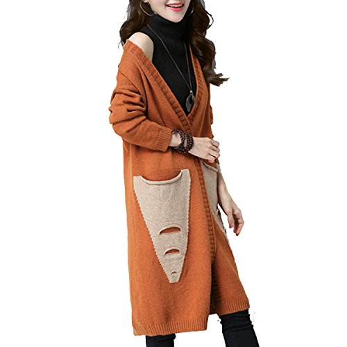 Long Coat Autumn Ladies Sleeve Winter Wild In Cardigan nihiug Long The Sweater And Loose Paragraph Spring Christmas Ginger Korean Sweater Thickening zxtqfwX
