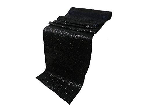 ELINA'S PACK OF10 Wedding 13 x 108 inch Sequin Table Runner Wedding Banquet Decoration (10, BLACK) by Elina Home