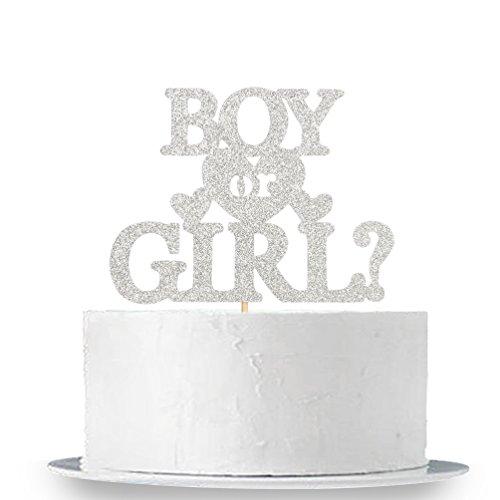 INNORU Silver Glitter Boy or Girl Cake Topper - Elegant Baby Shower Gender Reveal Party Photobooth Props ()