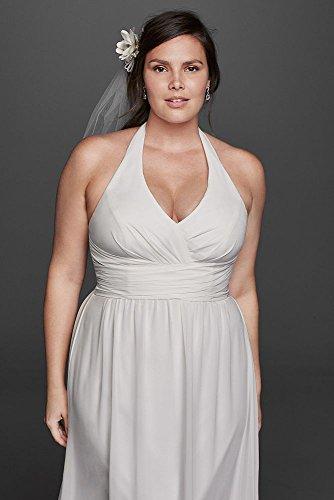 Davids Bridal Chiffon Sheath Halter Plus Size Wedding Dress Style