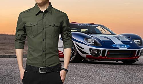 XTAPAN Men's Casual Slim Fit Shirt Cotton Long Sleeve Button Down Dress Shirt 3