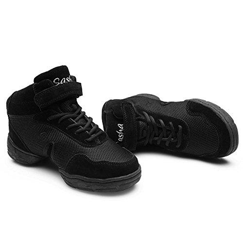 Hroyl Dames Boost Dance Sneaker Jazz Sneaker Leer En Mesh Upper Zorgen Ervoor Dat Je Geniet Van Model-b52 Black-w Dansen