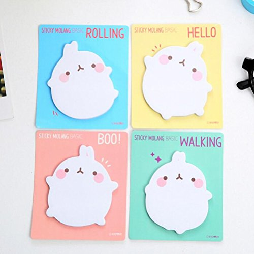 8 Pcs Cute Cartoon Rabbit Sticky Note Novelty Memo Pad Self-Stick Note Bookmark Page Flags Index Tab Reminder Sticky Notes Message Pad, Random Style