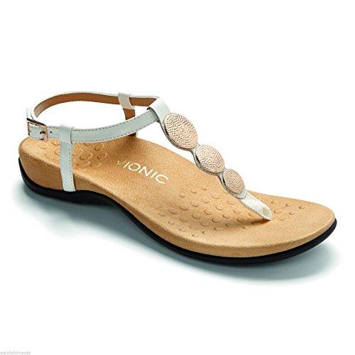 Vionic - Sandalias de vestir para mujer blanco metalizado 270mm blanco metalizado