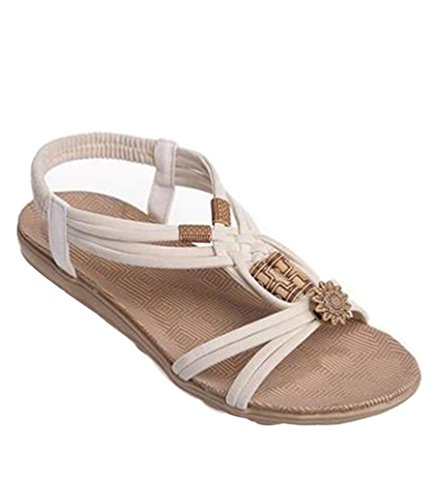 YOUJIA Ladies Boho Beaded Peep Toe Sandals Elastic T-Strap Slingback Flip Flop Beach Shoes Beige