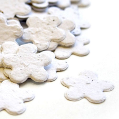 White 5-Petal Plantable Seed Confetti (two 350 piece bags = 700 pcs) (Wildflower Baby Shower Favors)
