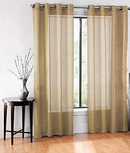 GorgeousHomeLinen (Ruby) Different Colors & Sizes 2 Pc Sheer Window Curtain Drape Panels 8 Soild Bronze Grommets (84