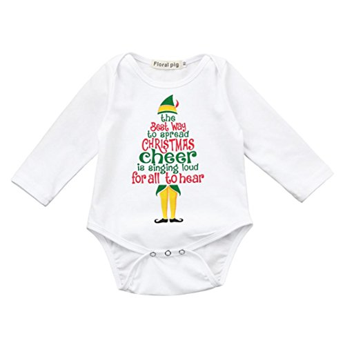 Price comparison product image Dreammimi Baby Christmas Holiday Long Sleeve Bodysuit Baby Romper Outfits Suit (80CM 6Month