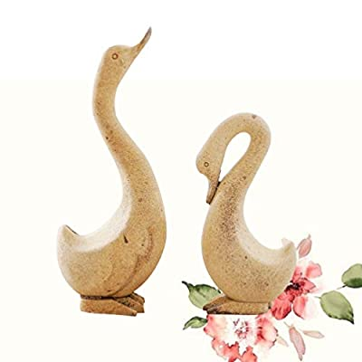 Exceart 1 Pair Unfinished Wooden Toys Wooden Animal Figurines DIY Painting Toy Goose Ornament for Boys Girl Kids Child: Home & Kitchen