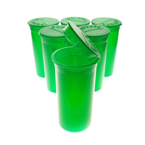 50 Pack of Green Translucent 13 Dram Premium Squeeze Pop Top Medical Prescription Containers