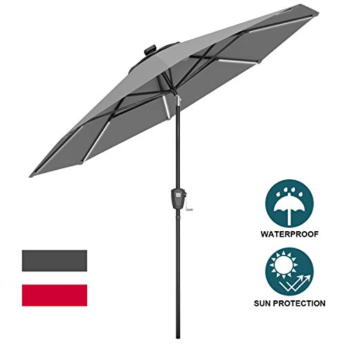 - Tangkula 9ft Patio Umbrella Outdoor Tilt Umbrella Lawn Garden Balcony Sunshade Tent Rain Shelter Patio Furniture with Solar Led Light(Grey)