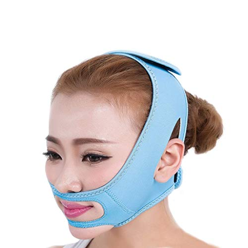 ではごきげんよう事実上一緒フェイスリフトテープ&バンド、フェイススリミングマスク、ダブルチン、ダブルチンリデューサー、シワ防止マスク、リフティングシェイプ(フリーサイズ)(カラー:ピンク),青