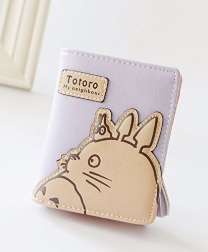 Money Coming Shop New Fashion Korean Women Wallet Cartoon Animation Small Leather Wallet Cute Totoro Tassels Zipper Clutch Coin Purse Card Holder Purple