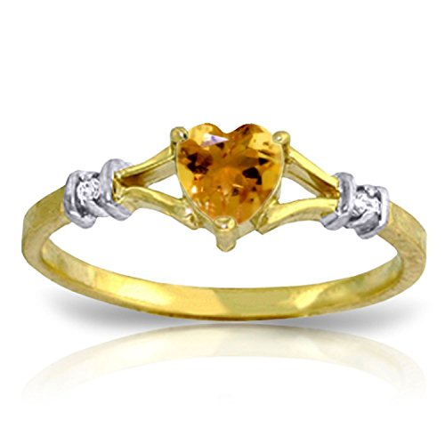 - Galaxy Gold 0.47 Carat 14k Solid Gold Ring with Natural Diamonds and Heart-shaped Citrine - Size 7