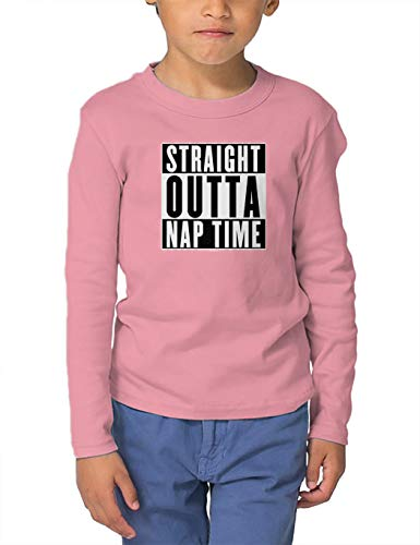 HAASE UNLIMITED Straight Outta Nap Time - Hip Hop Parody Long Sleeve Toddler Cotton Jersey Shirt (Light Pink, 2T)
