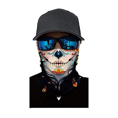 FEDULK Skull Face Mask Halloween Party Dust Wind Protection Durable Motorcycle Bike Riding Hunting Cycling(B) ()